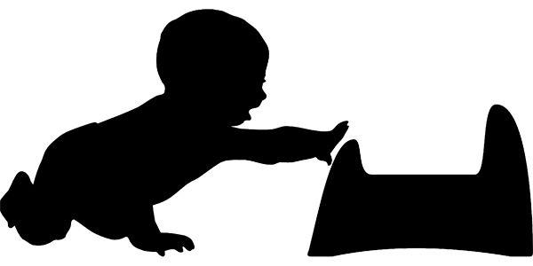 Obrys dítěte jak sahá po nočníku