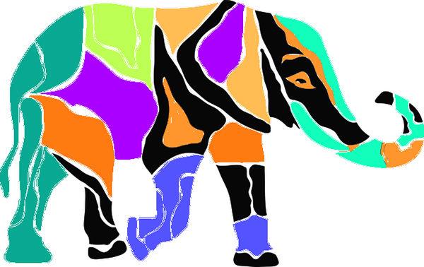 Fotografie barevného slona