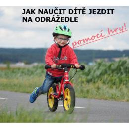 úvodní fotka článku Jak naučit dítě jezdit na odrážedle pomocí hry - kluk jede na odrážedle Puky po cyklostezce
