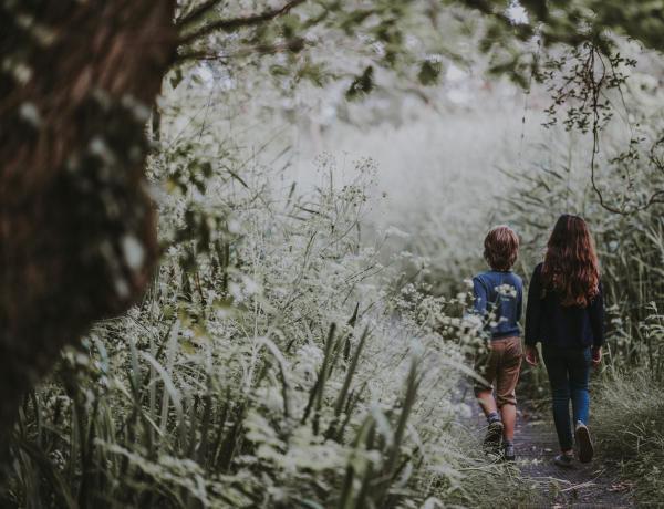 děti jdou lesní cestou při plnění úkolů bojovky